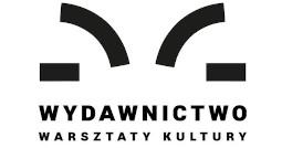 Logotyp Wydawnictwa Warsztatów Kultury: Czarna ilustracja przypominająca otwartą książkę, poniżej słowo Wydawnictwo i pod spodem Warsztaty Kultury