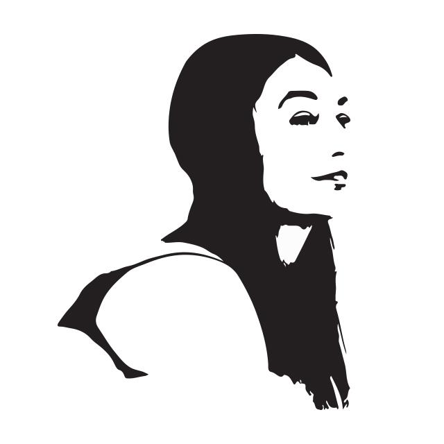 czarno-biały, stylizowany portret pisarki Kateryny Babkiny. Widać głowę i część pleców. widok z profilu. Kobieta ma długie, ciemne włosy, jest uśmiechnięta, patrzy gdzieś w dal poza kadr.
