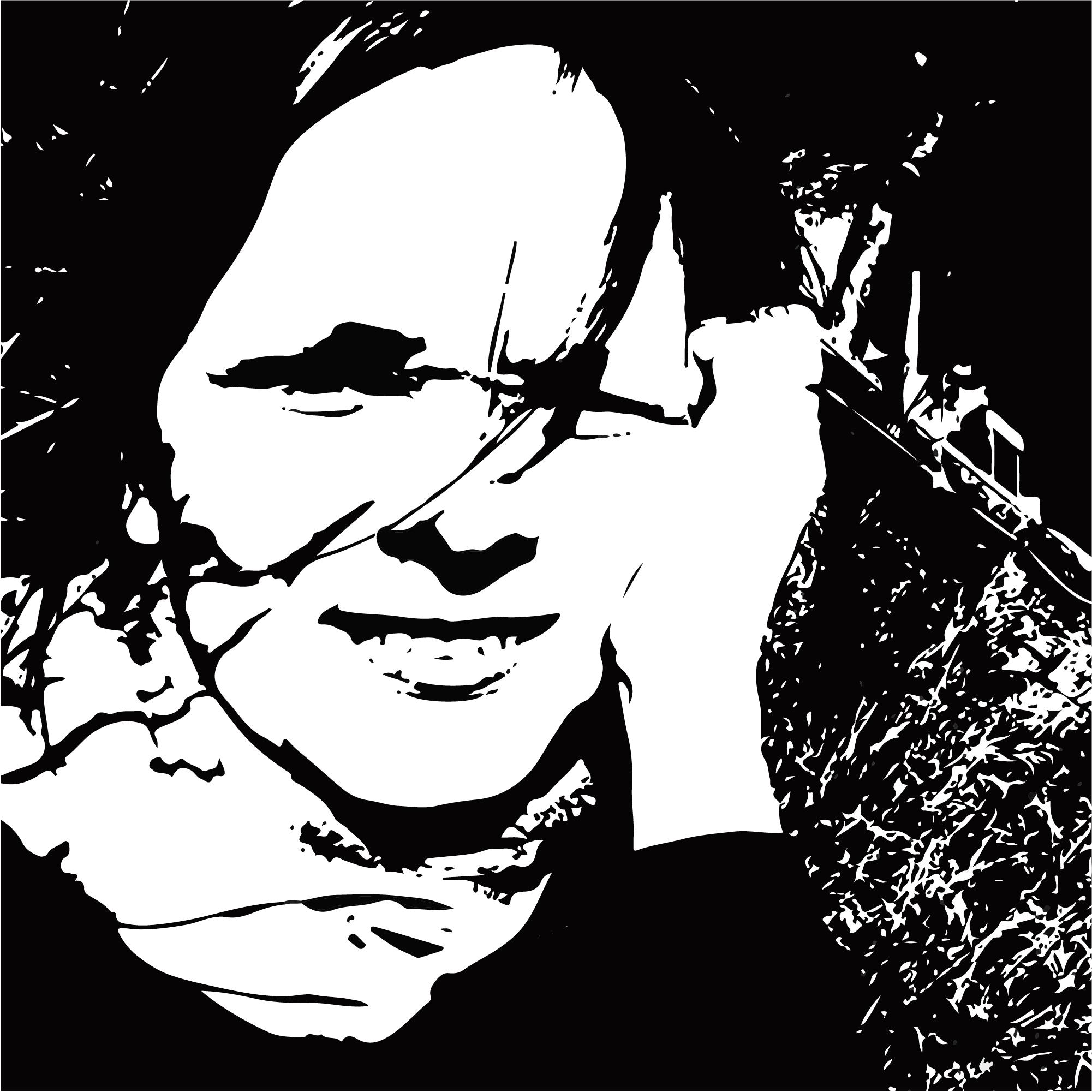 czarno-biały stylizowany portret łotewskiej pisarki Ingmara Balode. Kobieta ma półdługie włosy w kolorze popielaty blond, jednen kosmyk nachodzi jej na oczy, z prawej strony przytrzymuje twarz dłonią. Jest uśmiechnięta. W tle niezbyt czytelny zarys budynku