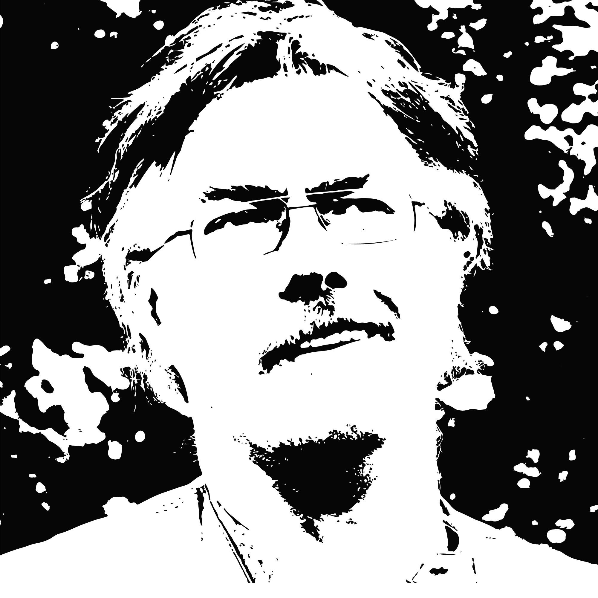 czarno-biały stylizowany portret łotewskiego autora Edvins Raups. To mężczyzna w średnim wieku, z siwiejącymi włosami. Ma okulary i wąsy. Zdjęcie lekko z dołu, mężczyzna patrzy w zamyśleniu poza kadr. Za nim niewyraźne tło, przypominające zarośla.