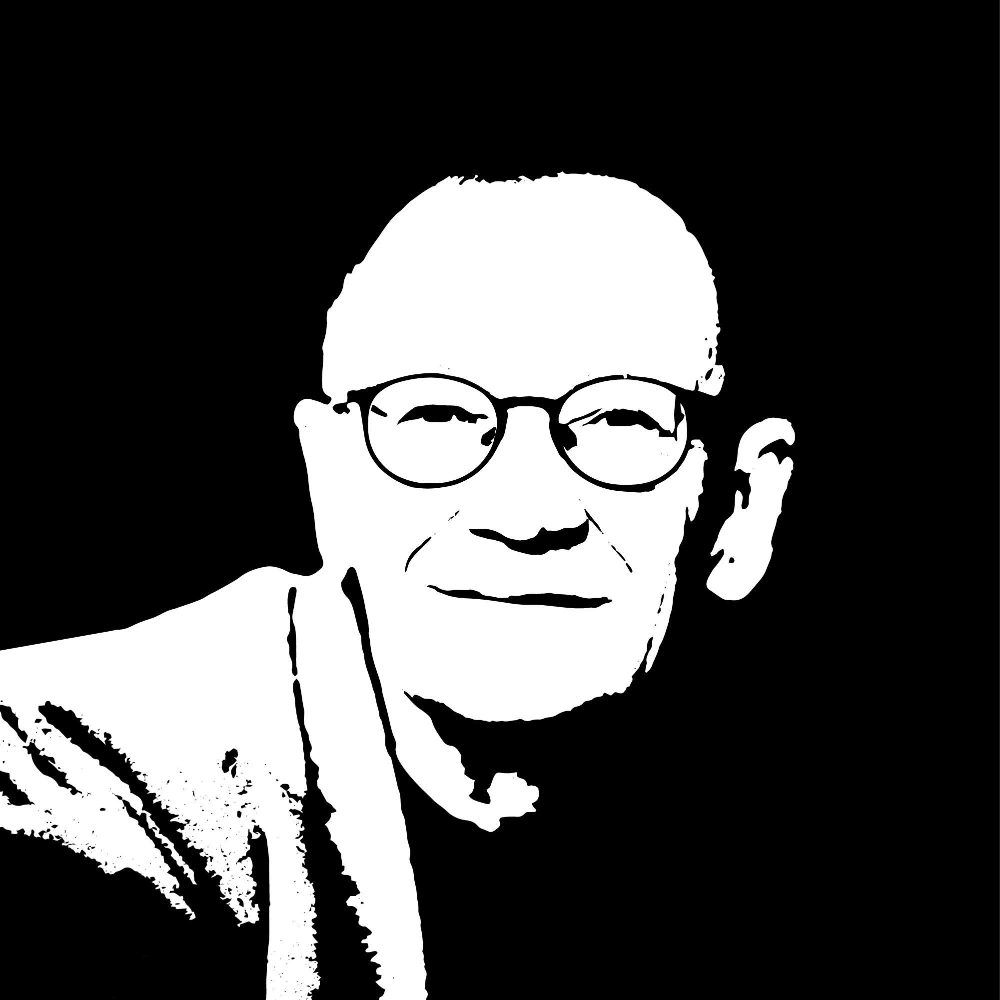 Czarno-biały stylizowany portret łotewskiego poety Janis Rokpelnis. To starszy mężczyzna z krótkimi, jasnymi włosami. Ma okulary, ciemną koszulę, marynarkę