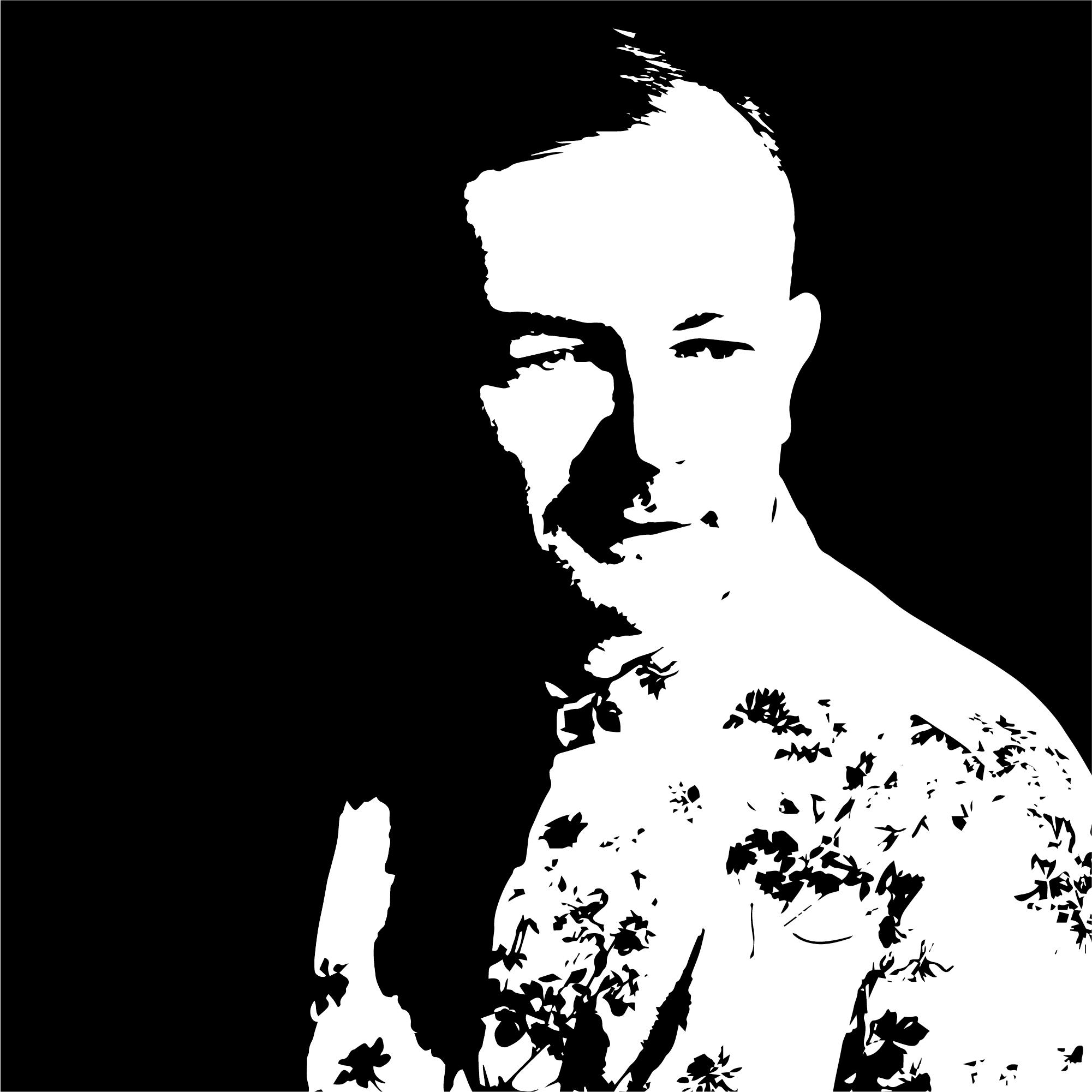 Czarno-biały stylizowany portret łotewskiego pisarza Karlis Verdnis. To mężczyzna urodzony w 1979 roku, Ma krótkie, jasne włos, zamyślone spojrzenie skierowane poza kadr. Ubrany jest we wzorzystą koszulę.