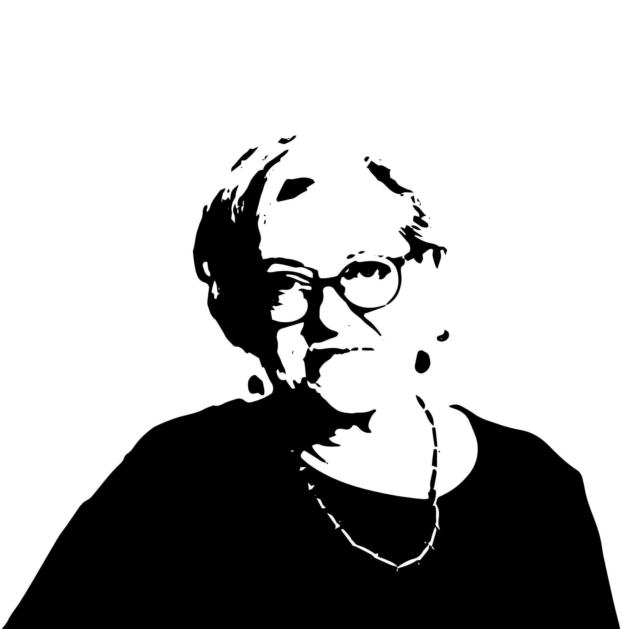 czarno-biały stylizowany portret łotewskiej poetki Inese Zandere. To kobieta w średnim wieku, z półdługimi blond włosami. Ma okulary, kolczyki i naszyjnik. Jest uśmiechnięta. Ma na sobie czarną bluzkę z okrągły dekoltem.