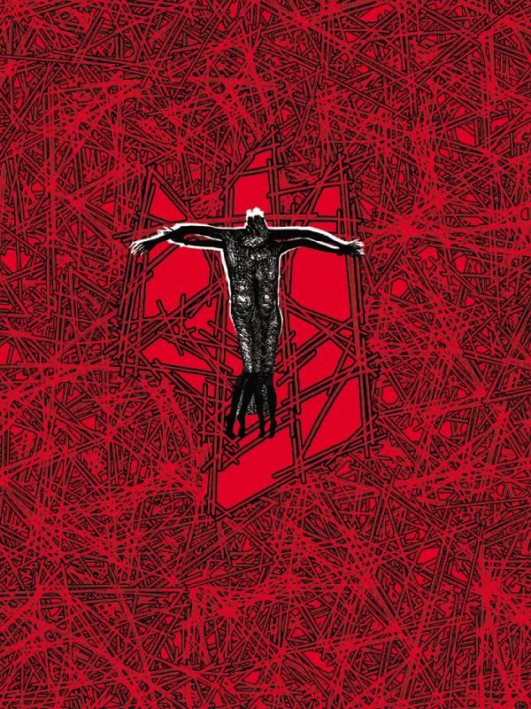 Okładka poematu Barykady na Krzyżu: pokryta czerwienią jak krew, cała powierzchnia okładki zapełniona jest cierniami, na samym środku czarna postać z ramionami rozpostartymi na boki, jak ukrzyżowana.