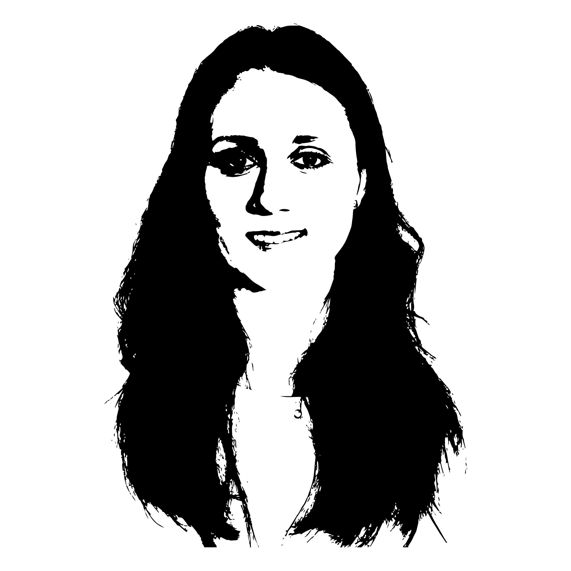 czarno-biały stylizowany portret tłumaczki Olgi Świncickiej. Głowa na białym tle. To młoda dziewczyna z długimi, ciemnymi włosami. Jest uśmiechnięta.