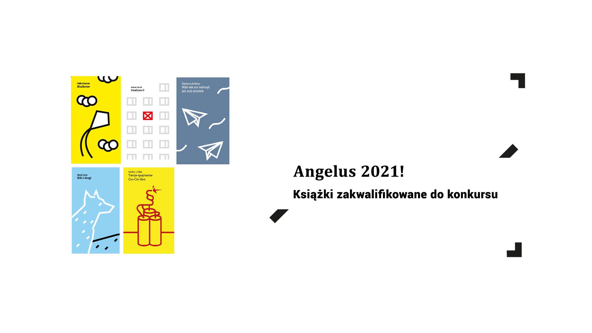 Grafika promująca listę ksiażke zakwalifikowanych do nagrody literackiej ANGELUS.