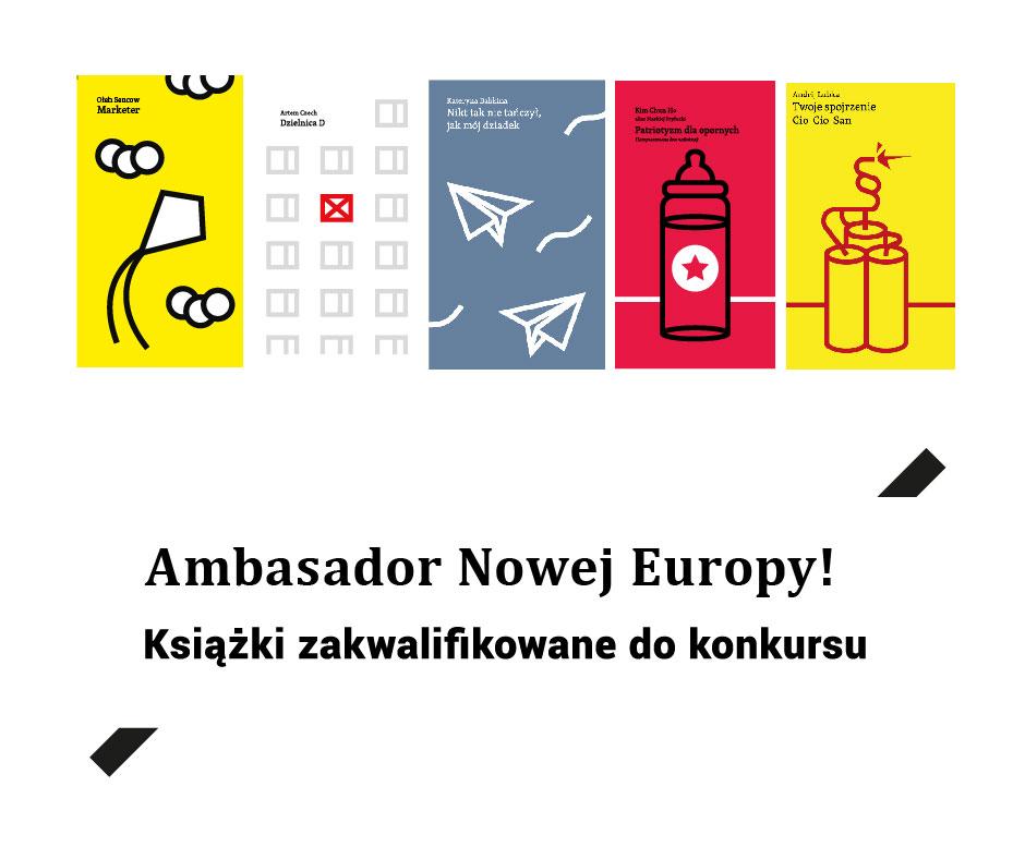Grafika promująca listę książek zakwalifikowanych do nagrody literackiej Ambasador Nowej Europy