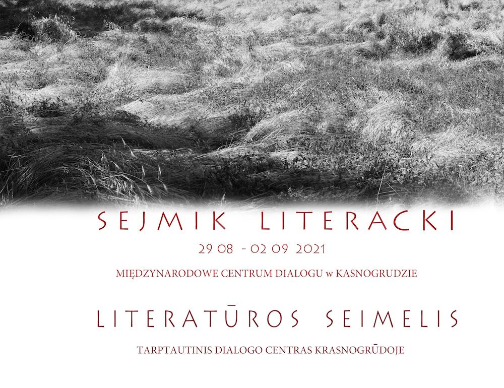 Czarnobiałe zdjęcie promujące Sejmiki literackie.